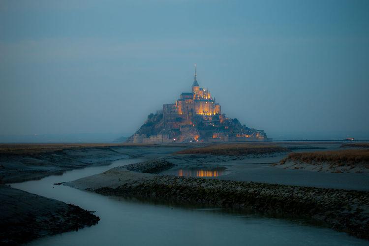 Blue Hour Bucketlist Illuminated Mont Saint-Michel Outdoors River Travel Destinations Water