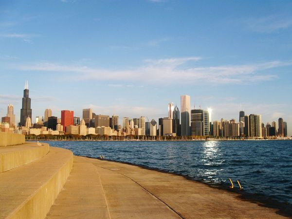 The City Light City Cityscape Architecture Modern Downtown District Travel Building Exterior Travel Destinations Sky Sunrise Lakemichigan Michiganlake Lakeside Shadows & Lights Cityscape Architecture MichiganLakes Nice View Chicago Illinois Chicago Architecture Beauty In Nature Freshness Freshair Windycity
