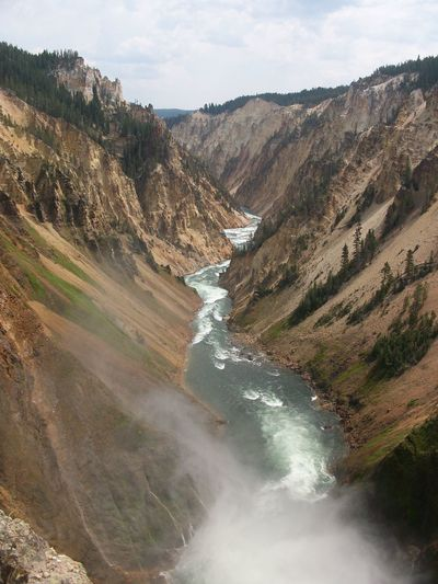 Grand Canyon of the Yellowstone, Yellowstone National Park Yellowstone National Park Nature Outdoors Grand Canyon Of The Yellowstone Water Scenics - Nature Beauty In Nature Environment Waterfall Motion Mountain Land Flowing Water Non-urban Scene Day Sky Landscape No People Tranquil Scene Mountain Range Rock Long Exposure Flowing Power In Nature