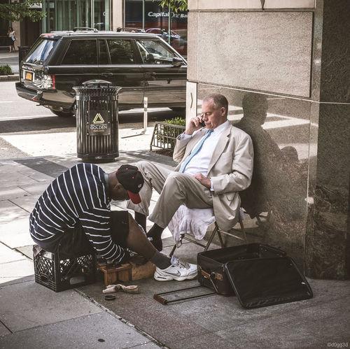 African American Blackandwhite Car DC Lifestyles Men Mobile Phone Range Rover Real People S Shoeshine Two People Washington, D. C. Water