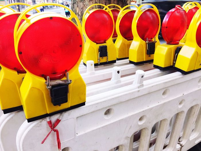 Road reflectors on barricades at construction site