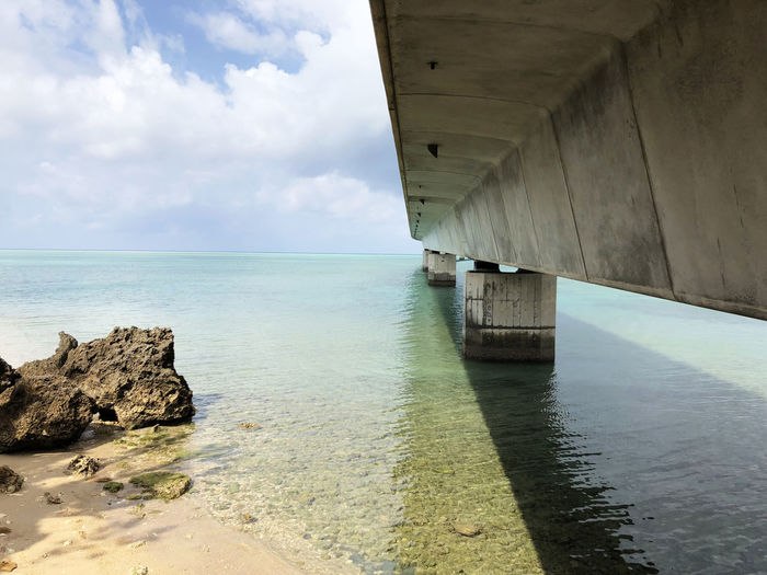 Green water under the bridge Water Sea Sky Architecture Built Structure Horizon Over Water Horizon Beach Cloud - Sky Nature Scenics - Nature No People Beauty In Nature Outdoors Rock Underneath Concrete Bridge - Man Made Structure Okinawa Japan Miyakojima EyeEm Nature Lover Green Color Ocean