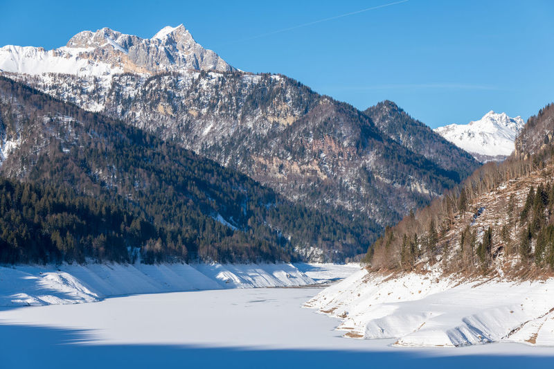 Winter on the frozen sauris lake