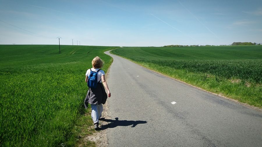 On The Road Hikingadventures Hiking Fieldscape Blue Sky From My Point Of View Exploring New Ground Lost In The Middle Of Nowhere Road Picardie Horizon Over Land Landscape The Great Outdoors With Adobe Middleofnowhere Lost In The Landscape