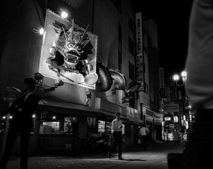 Art Blackanwhite Dragon Fear Illuminated Japan Night Streetphotography