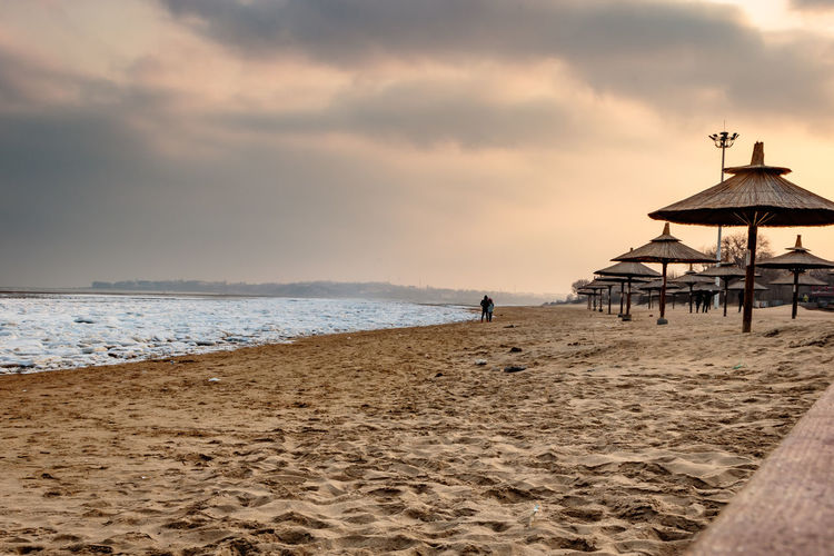 Frozen Hebei Ice Seashore Winter Architecture Beach Beidaihe China Day Horizon Over Water Incidental People Nature One Man Only One Person Outdoors Qinhuangdao Sand Sea Seascape Seaside Sky Snow Sunset Water