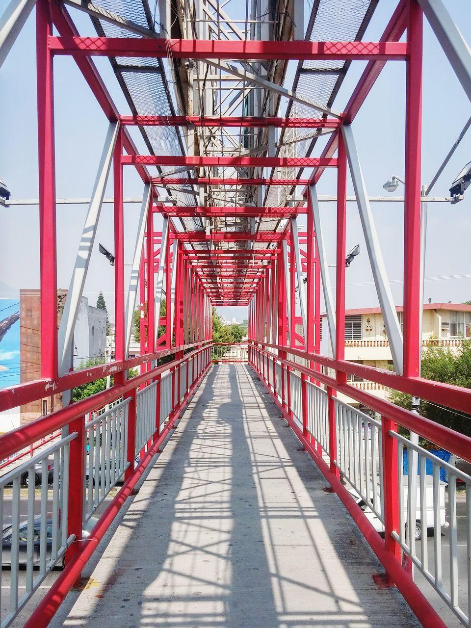 Empty Red Footbridge
