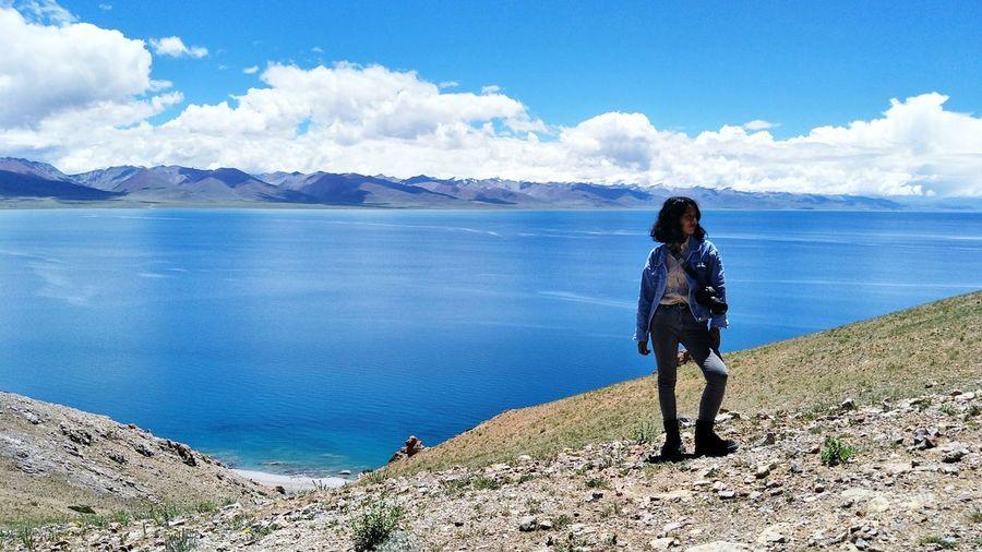 Water Mountain Sea Full Length Women Adventure Hiking Rear View Walking Discovery
