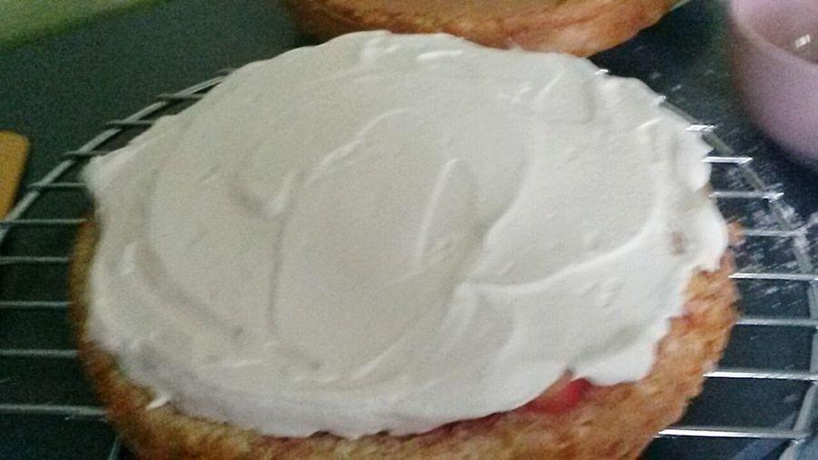 In process... Dessert Homemade Peaches Nectarines Gateau Cake Chantilly Mascarpone  Inprocess