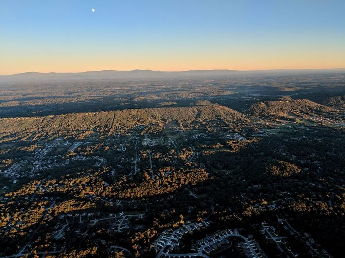 High angle view of ridgeline against clear sky during sunset