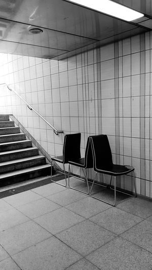 Broken City City Life Subway Station Chair Damaged Abandoned Lost And Found Blackandwhite Frankfurt Am Main Architecture Built Structure Steps And Staircases Stairway Steps Staircase Hand Rail Railing The Still Life Photographer - 2018 EyeEm Awards