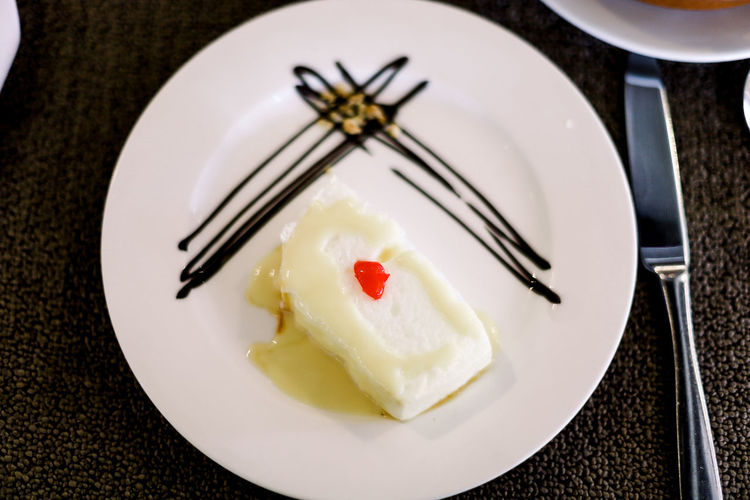 Close-up of cake served on plate