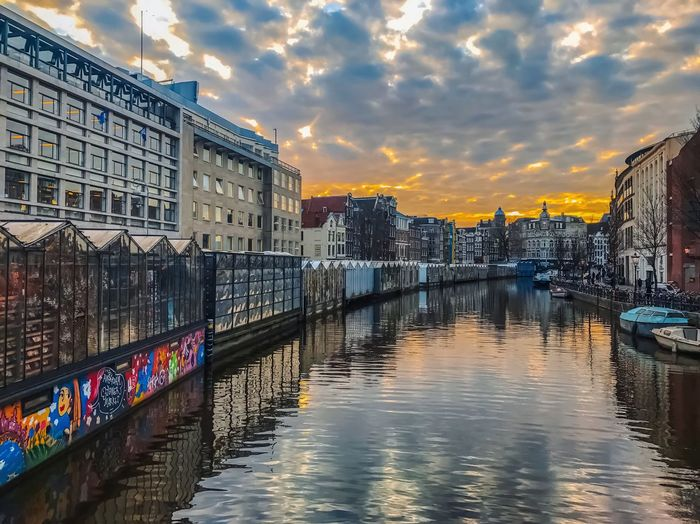 Flower market - Amsterdam Market Flower colour of life Sun Amsterdam Architecture Building Exterior Built Structure Reflection Sunset Sky Water Cloud - Sky River Outdoors Bridge - Man Made Structure No People Travel Destinations Day City EyeEmNewHere