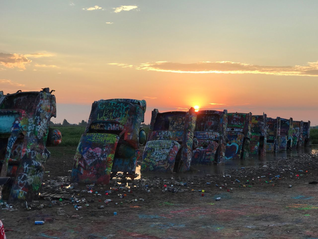 sunset, sky, garbage, cloud - sky, no people, outdoors, nature, day