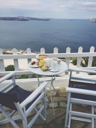 Breakfast Aegan Sea Santorini Greece