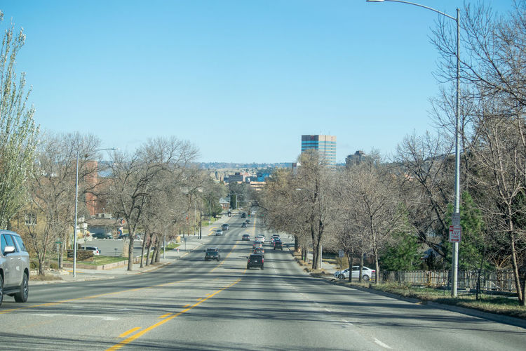 Road amidst trees and buildings against sky