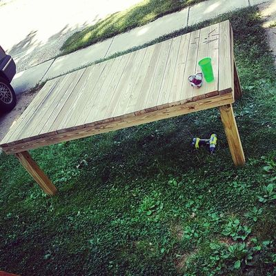Oh buddy! This one Is going to be awesome! Adding a foot board to the bottom, stain and protect and here ready for delivery! Want one? Let me know! (This is 7ft x 4 ft) Hingestore Homedecor Reclaimedwood BeforeAndAfter  wood woodworking