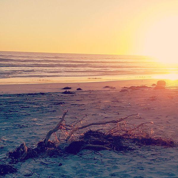 Sunset Sun Orange Color Scenics Dramatic Sky Beauty In Nature Sunlight Wave Sea Beach Outdoors