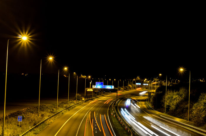 Night Illuminated Speed Light Trail Traffic Street Light Transportation Road Motion Street Long Exposure Car The Way Forward Outdoors No People City Hobby Photography