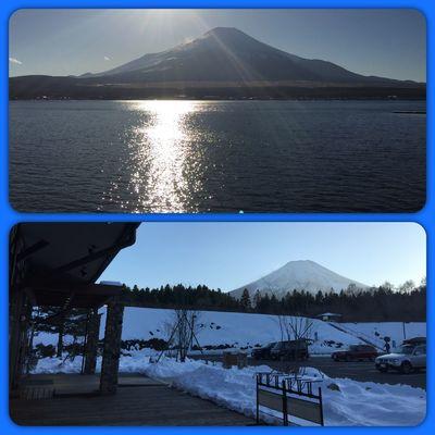 2018.01.27 (昨日)行ったとこ。 上 : #山中湖 と #富士山 下 : #道の駅 #富士吉田 のmont-bellからの富士山 #iPhone写真 #iPhone6Plus 富士山 山中湖