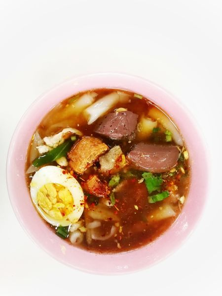 noodle soup on white background. Noodle Soup Thailand Food Egg Food And Drink Food No People Freshness Healthy Eating Close-up Ready-to-eat