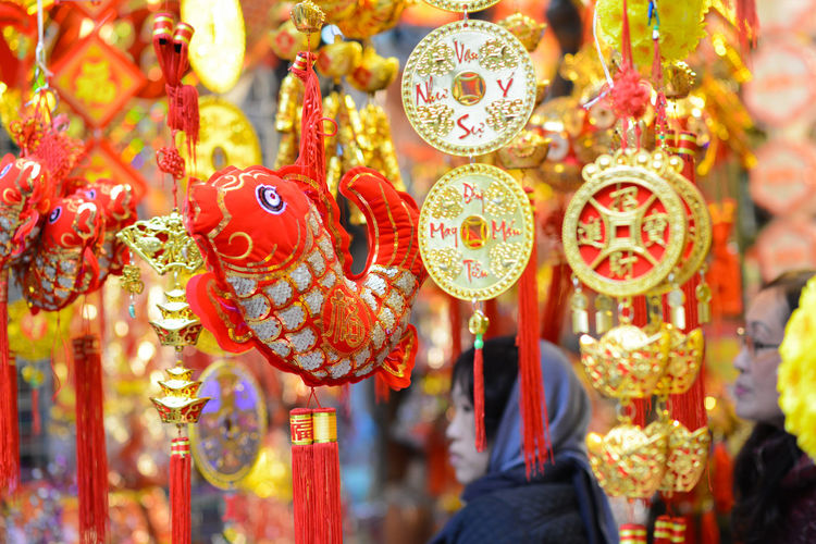 Celebration Chinese New Year Close-up Cultures Day Focus On Foreground Hanging Lunar New Year Multi Colored No People Outdoors Red Vietnam New Year
