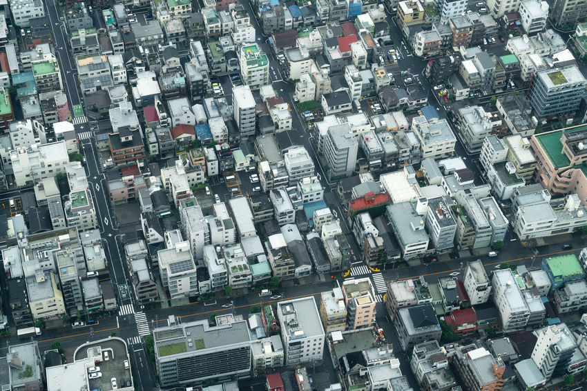 High angle Aerial view of densely built city blocks in Tokyo, Japan. Population Over Populated Packed Dense Densely Built Tokyo Japan Architecture City Block Residential District Backgrounds Full Frame Close-up Residential Structure Cityscape Urban Scene Settlement Crowded Textured  Pattern Abstract Building