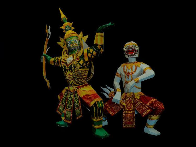"Ramakien""Glory of Rama"" is Thailand's national epic, derived from the Hindu epic Ramayana. Backgrounds Black Background Clever Dacing Decor Flighting Glory Of Rama Hanuman Hindu Epic Immortal Khon Monkey Warrior Moon No People Ramadan  Show Studio Shot Sun Thai Epic The Apes Theathre Theravada Buddhist Thotsakan Wat Phra Kaew"