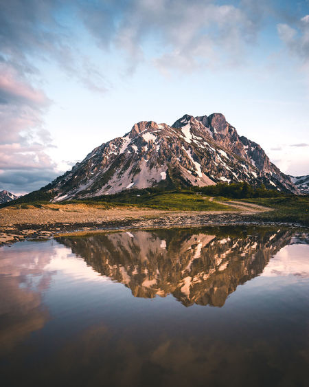 Beautiful reflection of the Komovi Mountains in Montenegro at sunset. Beauty In Nature Cloud - Sky Day Idyllic Komovi Lake Montenegro Mountain Mountain Peak Mountain Range Nature No People Non-urban Scene Outdoors Reflection Scenics - Nature Sky Snow Snowcapped Mountain Sunset Tranquil Scene Tranquility Water Waterfront