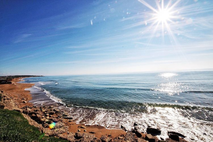 🌴 Sea Water Sky Horizon Over Water Beach Land Beauty In Nature Horizon Scenics - Nature Sunlight Idyllic Wave Sun Lens Flare Blue Day Tranquil Scene Tranquility Nature No People