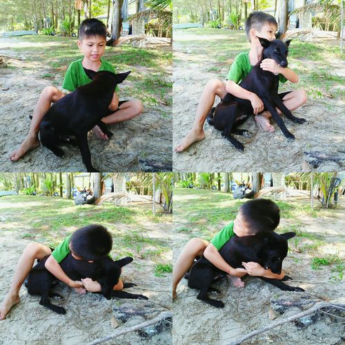I got a friend in me and I know he loves me 😄 / Vion & his dog Dido ❤ Morning At The Beach Cutekid Bestfriend Friendship