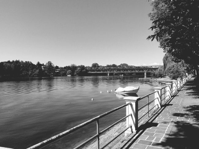 Blackandwhite Riverside Bridge Nature Beauty In Nature Boat Eyeem Photo Mobilephotography