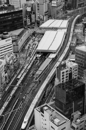 Shinkansen snaking in Tokyo Transportation Bullet Train Shinkansen City High Angle View Built Structure No People Outdoors Cityscape Mobility In Mega Cities