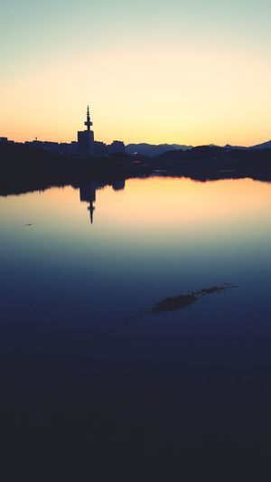 Korea Flow  City Politics And Government Water Sunset Clear Sky Lake Silhouette Reflection Statue History Reflection Lake