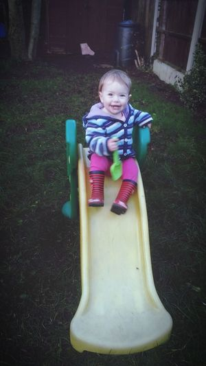 Faye playing in the garden Garden Fun Playtime Slide
