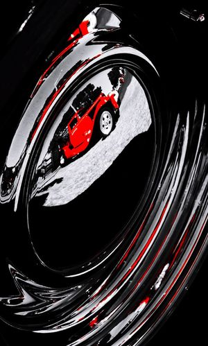 Red Rod Reflected Chrome HotRod Hubcap Red Reflection Mirror Automobile Wheel