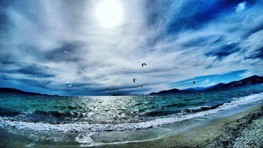 Kitesurfing Sea Wave Beach Hyeres Presqu île De Giens Var Sunset