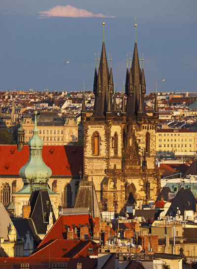 View of oldtown and oldtown halll in prague  from hanavelsky pavilon, prague, czech republic