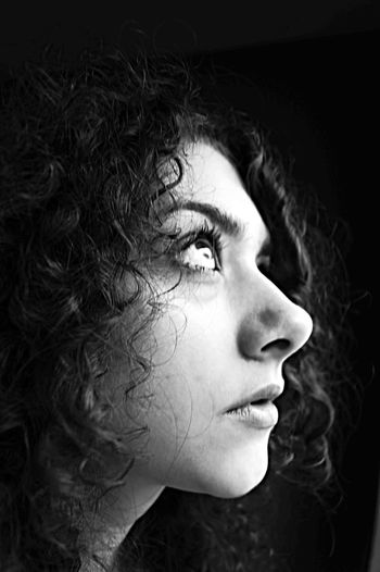 don't dwell in the dark Black And White Curly Hair Darkness And Light Happy Human Face Lucky Magicmoment Me People Portrait Power Search The Light Selfportrait