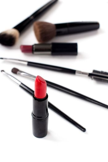 Red lipstick and makeup brushes on white background Fashion Brushes Red Lipstick Copy Space Makeupartist Cosmetics Make-up Red Make-up Brush Close-up White Background Beauty Product Lipstick Body Care And Beauty