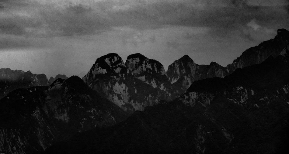 Mountain Nature Beauty In Nature No People Rock - Object Scenics Tranquility Sky Tranquil Scene Outdoors Mountain Range Landscape Day huashan mountain