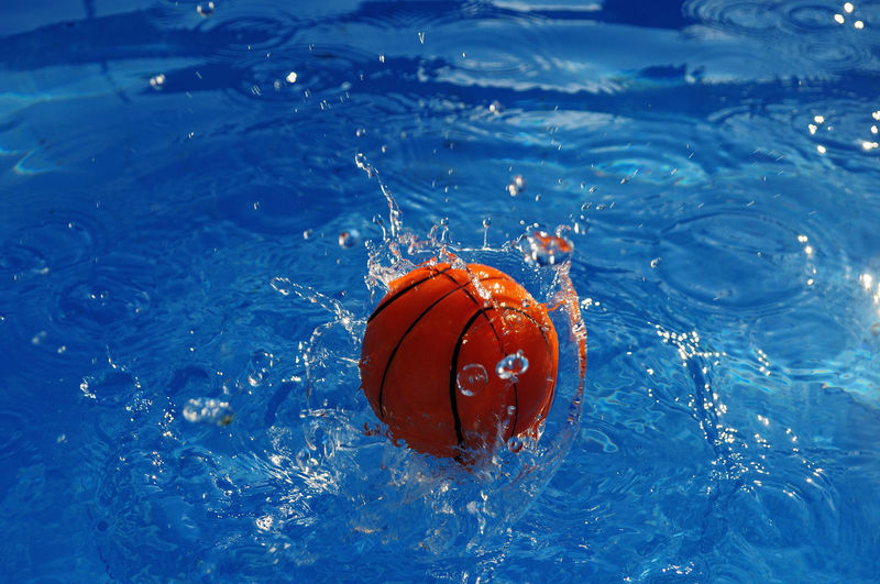 Close-up of basketball in water