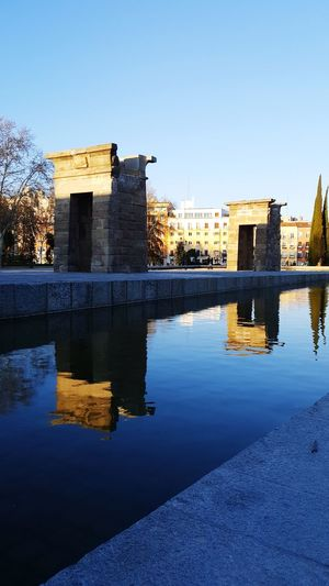 #madrid #Callejeando #templodedebod Clear Sky City Water Sky Architecture Standing Water Reflection