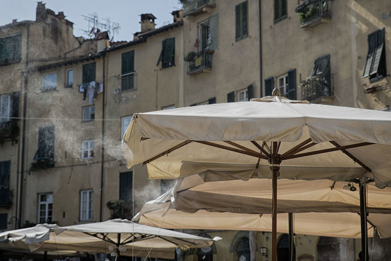 Lucca, Italy Canopy Lucca Italy Smoke Steam Beige Color Brown Color Building Exterior Buildings Moisture Water Vapour