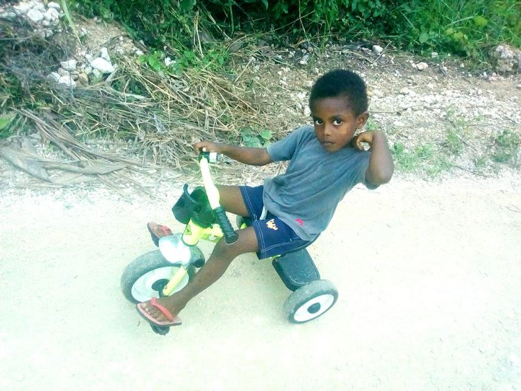 Child Riding A Tricycle Childhood Full Length Boys