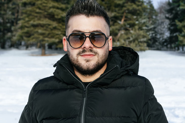 One Person One Man Only Young Men Men Winter Trees Looking At Camera Warm Clothing Portrait Snow Cold Temperature Eyeglasses  Winter Smiling Headshot Beard Handsome Masculinity Only Young Men