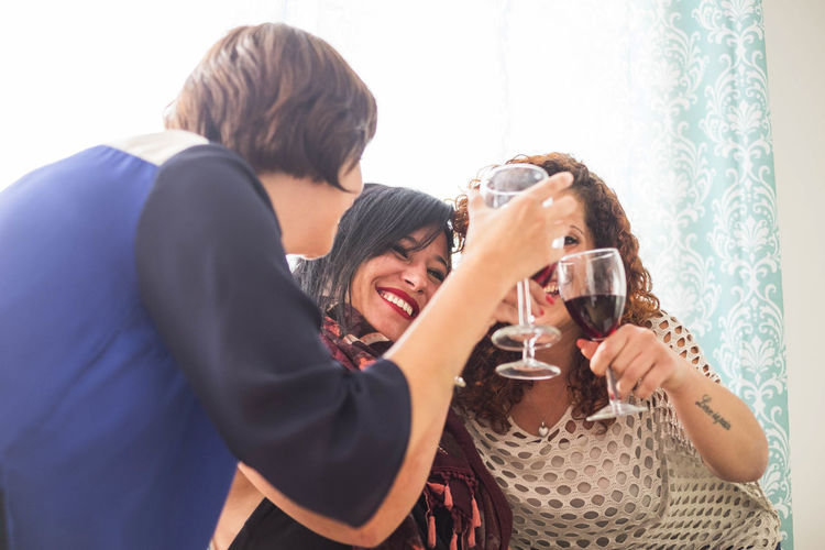 Happy Female Friends Toasting Drinks At Home