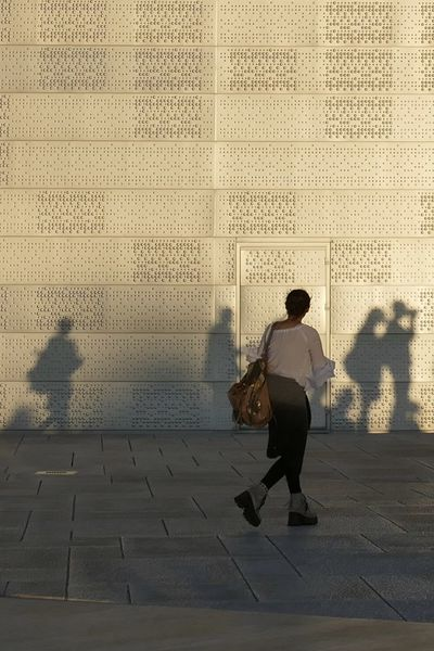 Full Length Indoors  Modern Architecture One Man Only One Person Oslo Opera House People Real People Shadow And Light Silhouette Snap A Stranger