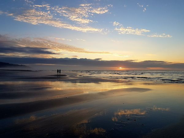 Sunset Sea Beach Reflection Sky Outdoors Water Nature Beauty In Nature EyeEmNewHere Raglan Nz Unedited New Zealand Photography