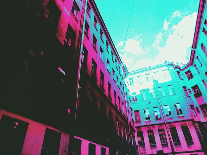 City Multi Colored Pink Color Cityscape Window Sky Architecture Building Exterior Built Structure Façade